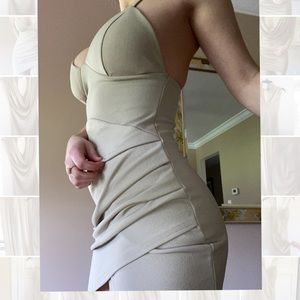 Pleated Strappy Tan Mini Dress with Length